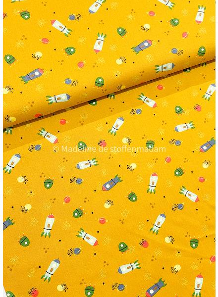 Poppy fabrics into space ochre - cotton