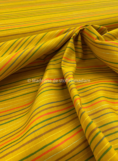 Poppy fabrics strepen into space oker - katoen