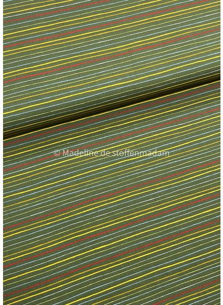 Poppy fabrics strepen into space  groen - katoen