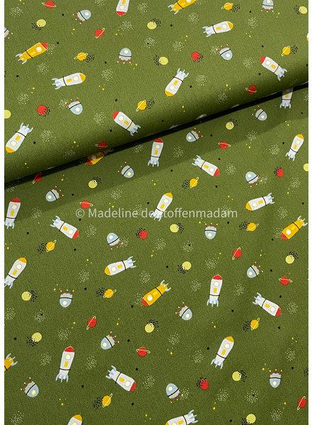 Poppy fabrics into space  groen - katoen
