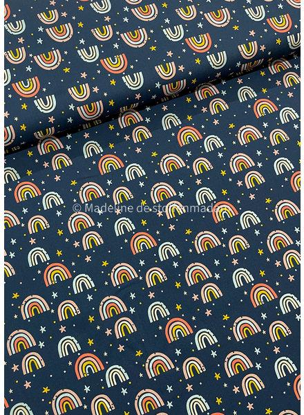 navy little rainbows - cotton