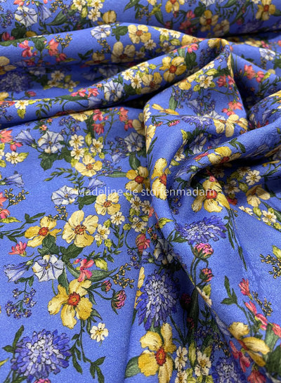 kobalt bloemen - viscose