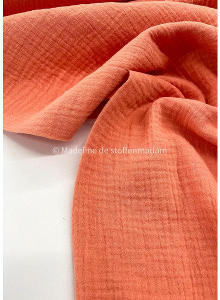 salmon muslin fabric