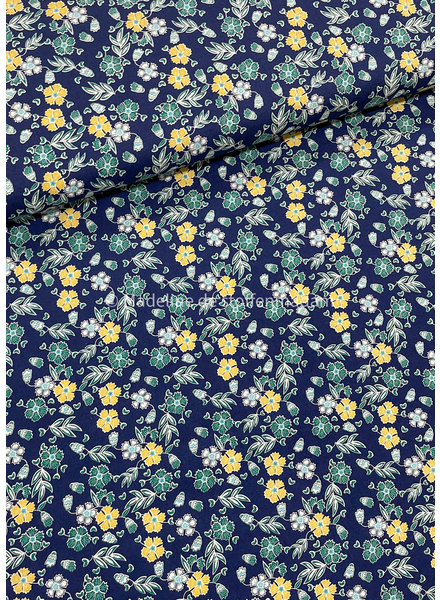 blauw bloemen 008 - katoen