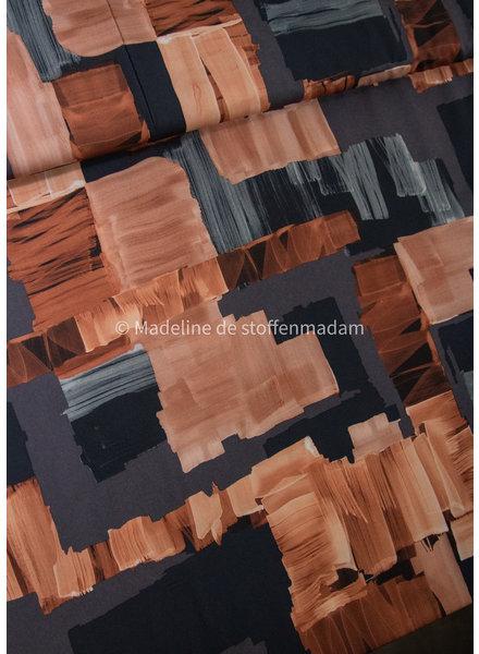 roest vlakken - magnolia stretch soepelvallende stof