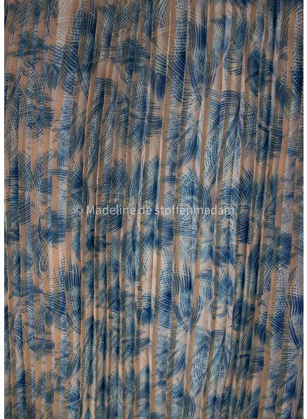 M blauwe veertjes - plissé