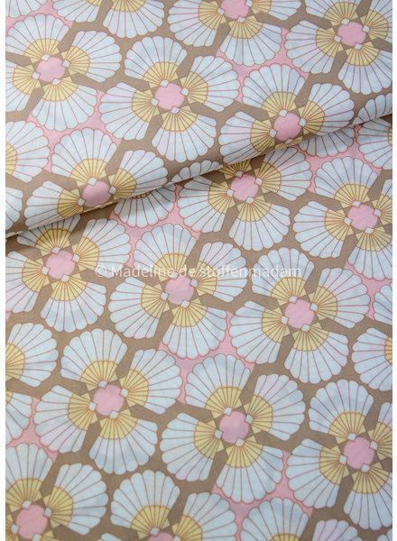 creme pink dandelions big - viscose