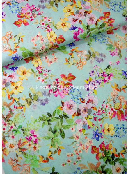 mint colorful flowers - tencel