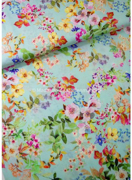 mint kleurrijke bloemen -  tencel