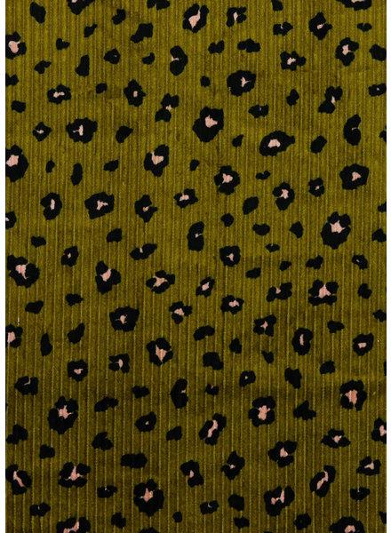 animal skin olive - washed corduroy