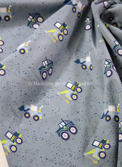 blauw pigment bouwvoertuigen - sweater