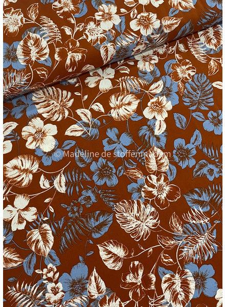 roest blauw bloemen - viscose