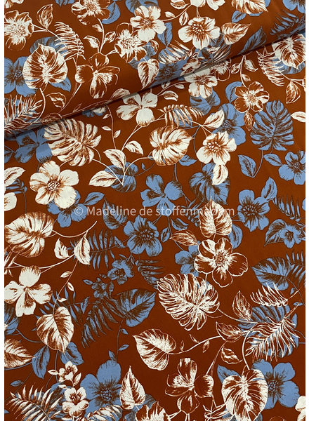 rust blue flowers - viscose