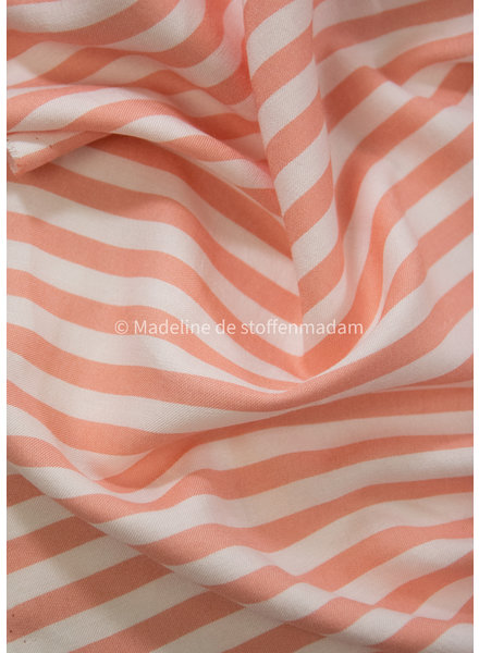 woven stripes orange - cotton viscose blend
