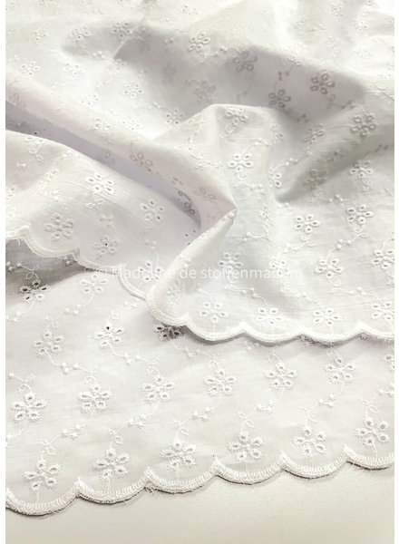 white embroidery border 2 sided