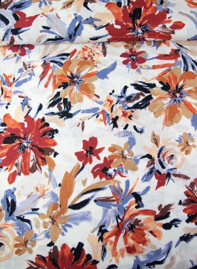 grote roest ecru bloemen - rayon