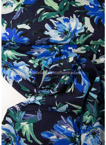grote blauwe bloemen - rayon