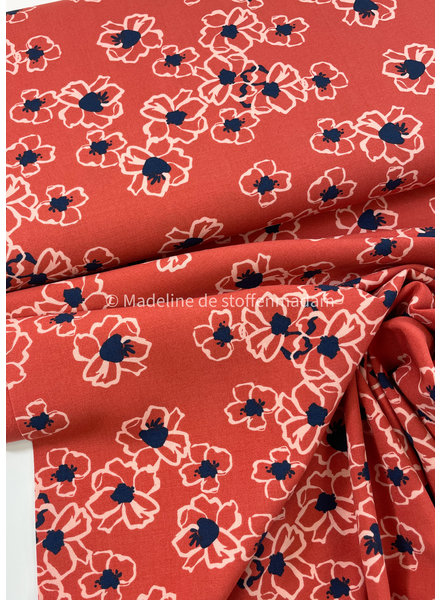 coral flowers flowers - viscose - light stretch