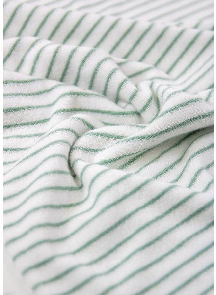 M sage green - striped stretch towel fabric