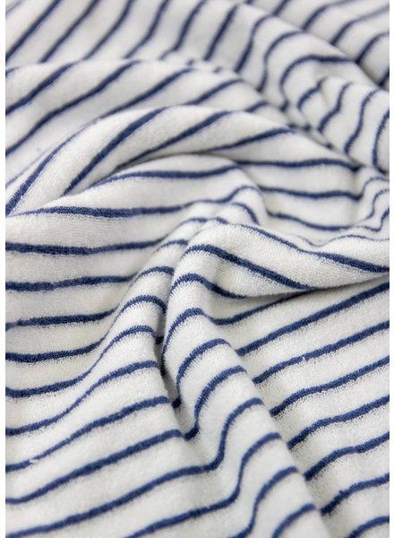 M navy - striped stretch towel fabric