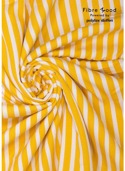Aila / Grace - wit en geel verticale strepen - viscose crêpe