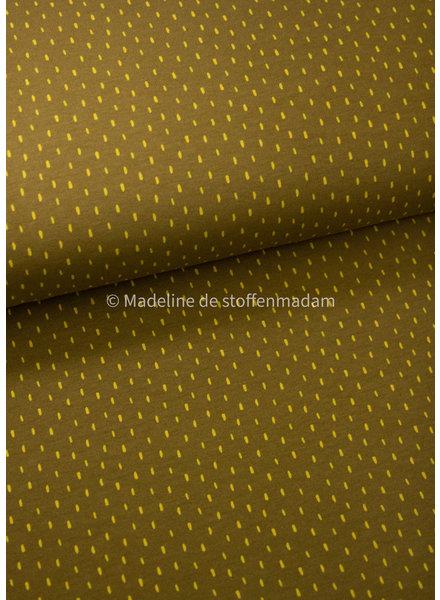 Poppy fabrics mutard dots - soft sweat GOTS