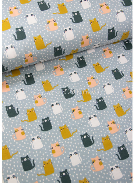 Poppy fabrics licht blauw katjes  - soft sweat GOTS