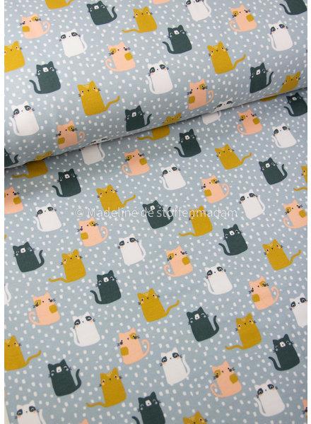 Poppy fabrics soft blue cats- soft sweat GOTS