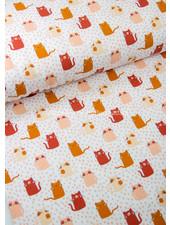 Poppy fabrics abrikoos katjes  - soft sweat GOTS