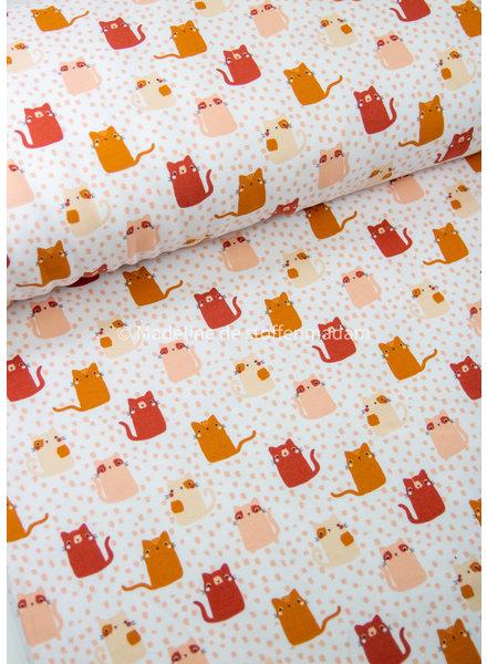 Poppy fabrics apricot cats- soft sweat GOTS