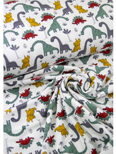 Poppy fabrics white dino - soft sweat GOTS