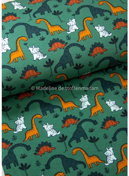 Poppy fabrics green dino - soft sweat GOTS