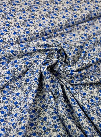 M 007 royal blue bloemen - liberty look - cotton lawn
