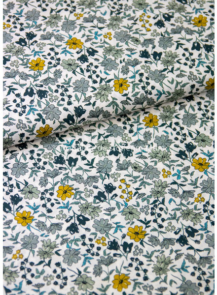 M 027 khaki dusty blue flowers - liberty look - cotton lawn