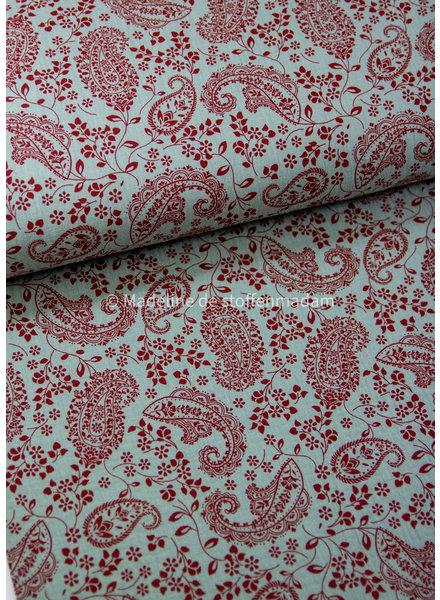 Poppy fabrics paisly- tetra double gauze GOTS label