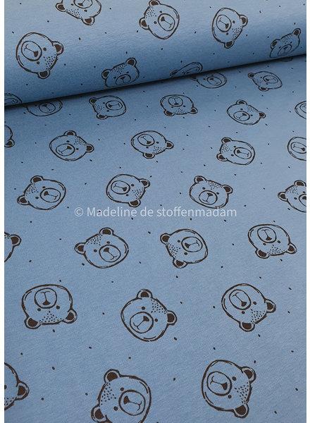 Poppy fabrics jeans blue bears - soft sweat GOTS