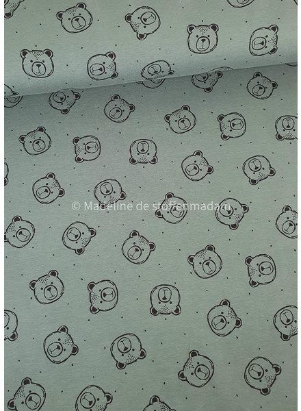 Poppy fabrics dusty green bears - soft sweat GOTS