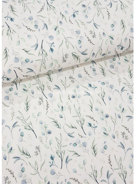 M blauw eucalyptus leaves - tricot - oeko tex