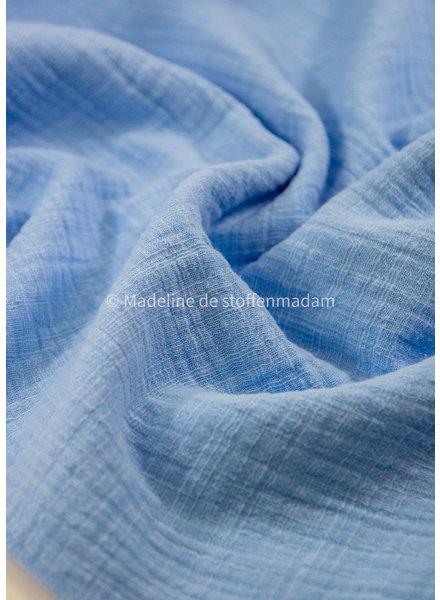 M linnen katoen mix double gauze / effen tetra - blauw