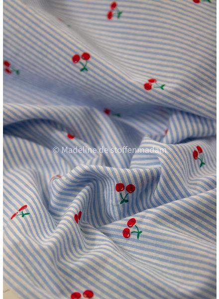 M cherries striped light blue - seersucker