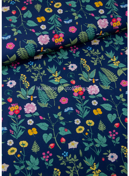 Swafing vintage botanical jersey with flowers - navy blue - 2