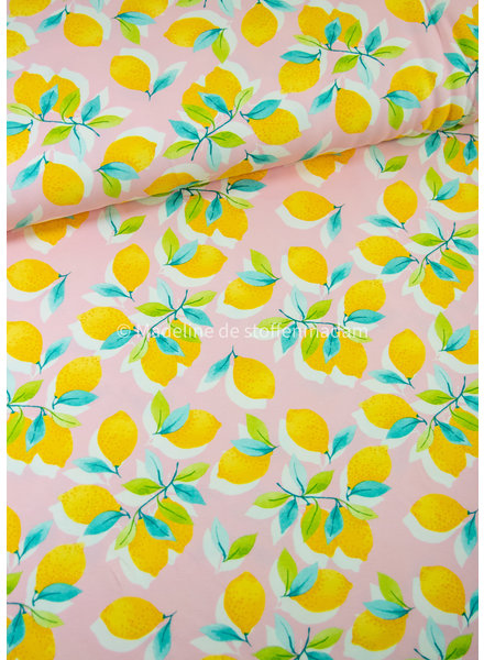 Swafing sun and lemons - tricot roze