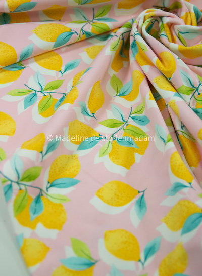 Swafing sun and lemons - pink jersey