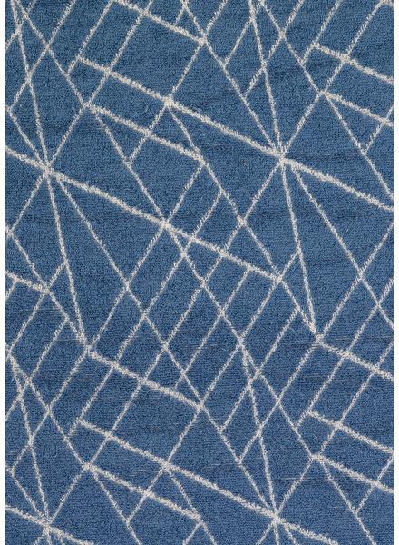 M blauw geometrisch spons - rekbare badstof