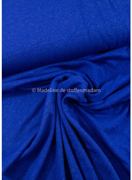 M kobaltblauw - rekbare gebreide linnen viscose mix