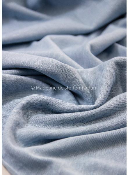 M dusty blauw - rekbare gebreide linnen viscose mix
