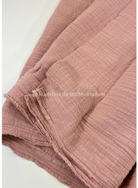 M linen cotton mix double gauze / tetra - dusty pink 820