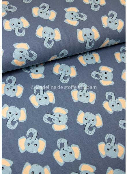 LITTLE DARLING elephants blue - jersey