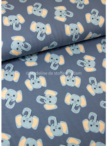 LITTLE DARLING olifanten blauw - tricot