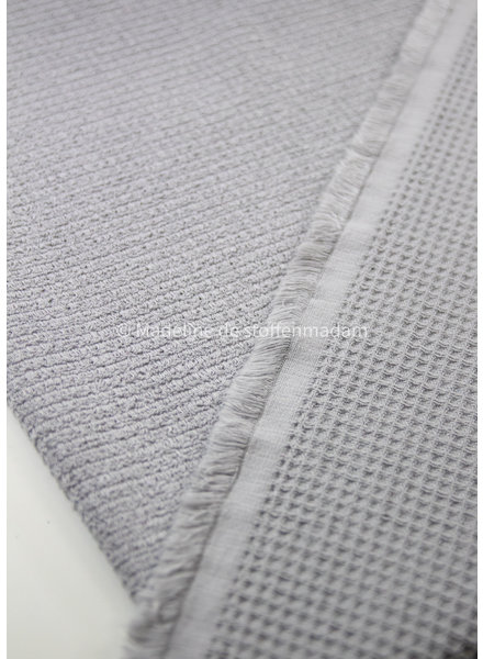 M light grey - waffled cotton and terry - double face